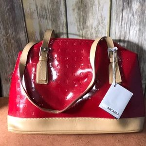 Arcadia Red Patent Leather Structured Satchel